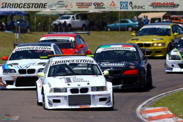 Julian Fameliaris leads the field in the first race for the Bridgestone BMW Club Racing Series