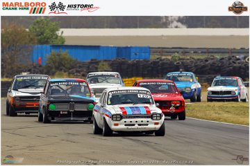 The leading pack of the Marlboro Crane Hire Historic Saloons classes F to G